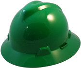 MSA V-Gard Full Brim Hard Hats with One-Touch Suspensions Green