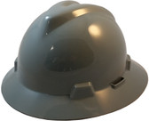 MSA V-Gard Full Brim Hard Hats with One-Touch Suspensions Gray