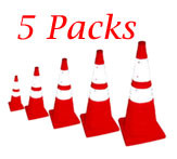 5 Pack Pack and Pop Incident Cones With Light