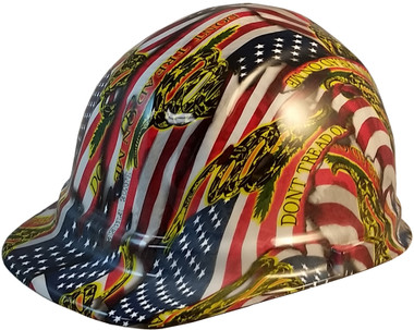 Don't Tread on Me USA FLAG Design Hydro Dipped Hard Hats Cap Style Design - Oblique View