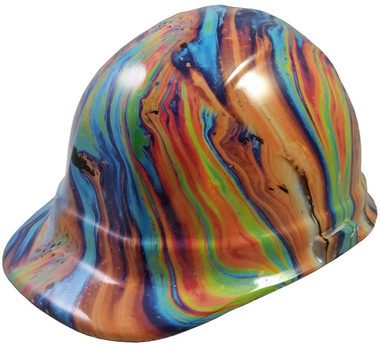 Oil Spill Design Hydro Dipped Hard Hats Cap Style Design