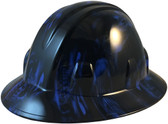 Hades Skull Blue Hydro Dipped Hard Hats Full Brim Style - Oblique View