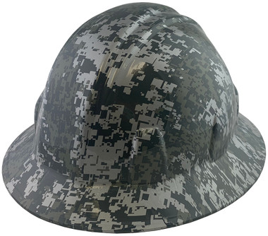Digital Camo Hydro Dipped Hard Hats Full Brim Style ~  Oblique View