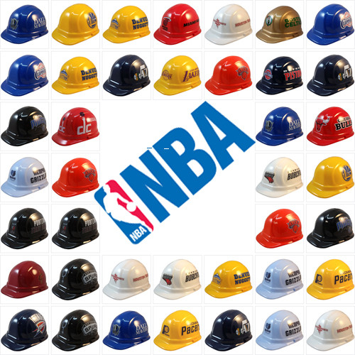 c2d6b176672 All NBA Basketball Team Hard Hats with Standard Pin Lock Suspension ...