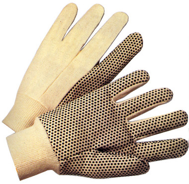 8 Ounce Cotton Canvas Gloves with Dots Pairs Pic 1