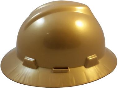 MSA V-Gard Full Brim Hard Hats with Fas-Trac Suspensions Gold