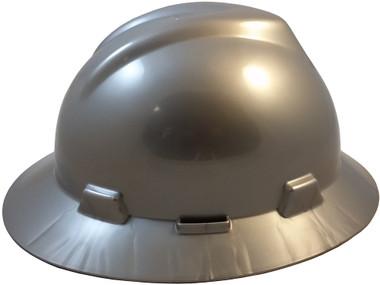 MSA V-Gard Full Brim Hard Hats with Fas-Trac Suspensions Silver