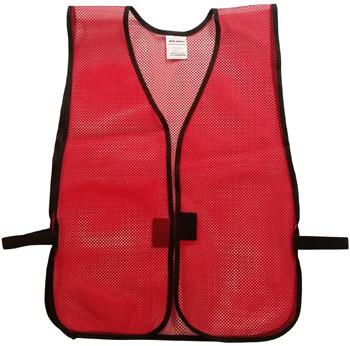Dark Red Open Mesh Plain Safety Vest  pic 2