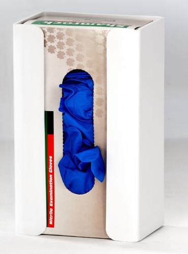 1-Box Horizontal Plastic Box Glove Dispenser ~ WHITE HEAVY-DUTY PLASTIC