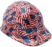 USA Wavy Flag Hydro Dipped Hard Hats Cap Style