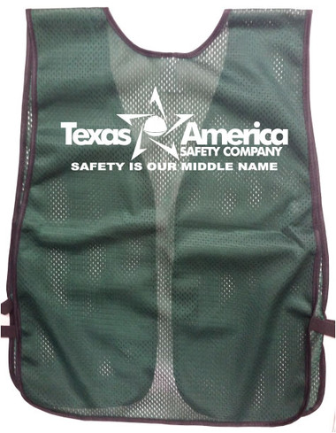 Green Safety Vest with Cingle Color Imprint