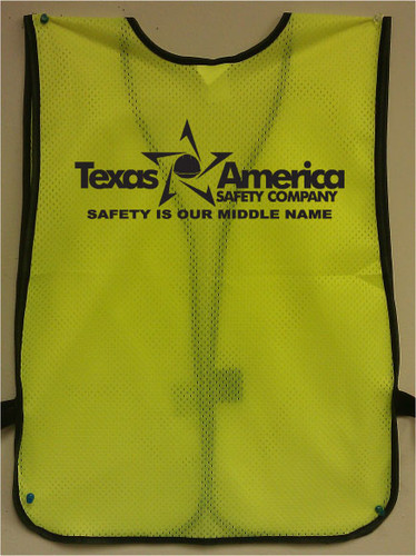 Imprinted Lime Safety Vests one color back