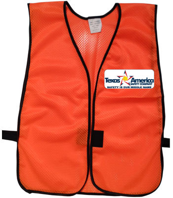 Imprinted Orange safety vests with multi color imprint front