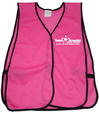 Imprinted Pink Safety Vests one color front