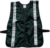 Dark Green Soft Mesh Safety Vest with Silver Stripes XL Size