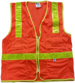 Orange MESH SURVEYOR Safety Vests CLASS 1 with Lime Stripes  pic 1