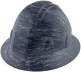 Blue Denim Hydro Dipped Hard Hats Full Brim Style ~ Oblique View