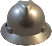 MSA V-Gard Full Brim Hard Hats with Staz-On Suspensions Silver
