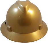 MSA V-Gard Full Brim Hard Hats with Staz-On Suspensions Gold
