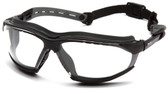 Pyramex Isotope Safety Glasses ~ Black Frame - H2 Max Clear Anti-Fog Lens