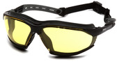 Pyramex Isotope Safety Glasses ~ Black Frame - H2 Max Amber Anti-Fog Lens Oblque