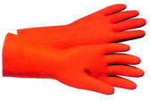 Orange Flock Lined Latex Thick 28 mil Gloves Pic 1