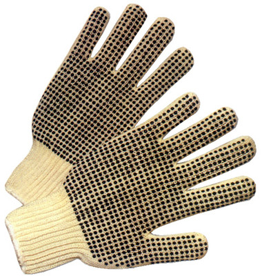 Cotton String Knit Gloves w/ Dots on One Side Pic 1