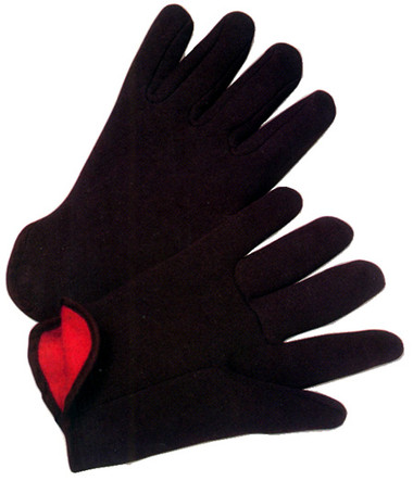 Fleeced Lined Brown Jersey Gloves Pic 1