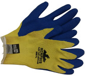 Kevlar stiched glove, Bear Kat w/ Blue latex palm (1 dozen pair) Large Size