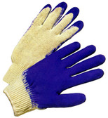 Cotton Knit Glove w/ Dipped Blue Rubber Pic 1