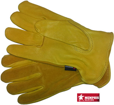Deerskin Leather Palm Gloves with Split Leather Back Pic 1