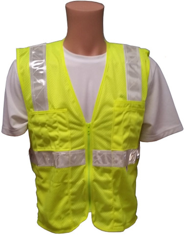 Lime MESH SURVEYOR Safety Vests CLASS 2 with Silver Stripes Front View