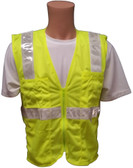 Lime MESH SURVEYOR Safety Vests CLASS 2 with Silver Stripes Front