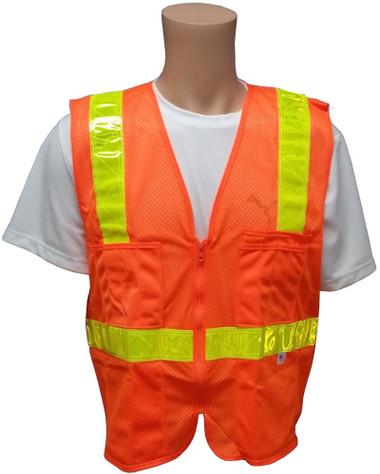 Orange MESH SURVEYOR Safety Vests CLASS 2 with Lime Stripes Front