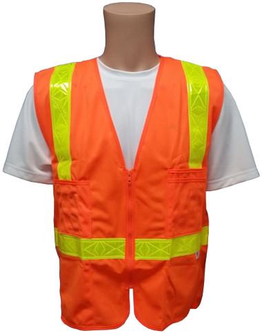 Orange SURVEYOR Safety Vests CLASS 2 with Lime Stripes Front