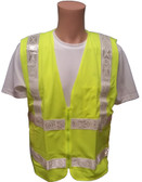 ANSI 2004 Sleeveless Class 2 Double Stripe LIME Safety Vests - Silver Stripes Front View
