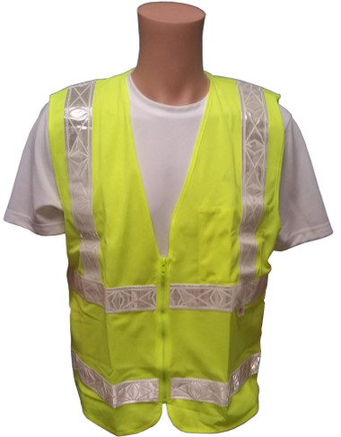 ANSI 2004 Sleeveless Class 2 Double Stripe LIME Safety Vests - Silver Stripes Front