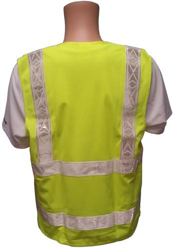 ANSI 2004 Sleeveless Class 2 Double Stripe LIME Safety Vests - Silver Stripes Back