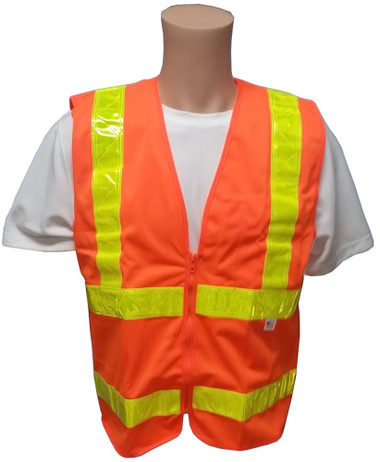 ANSI 2004 Sleeveless Class 2 Double Stripe Orange Safety Vests - Lime Stripes Front