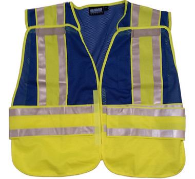 ERB BLUE Safety Vests ~ 3 pockets with Lime/Silver Reflective Stripes pic 4