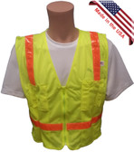 Lime MESH Surveyors Safety Vest with Orange Stripes and Pockets Front