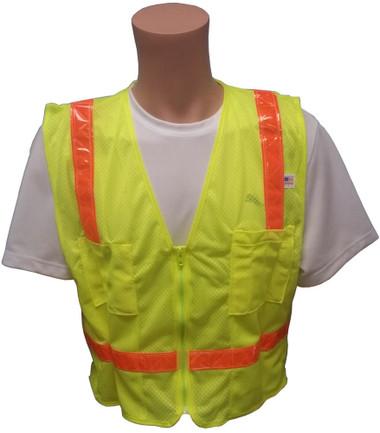 Lime MESH Surveyors Safety Vest with Orange Stripes and Pockets