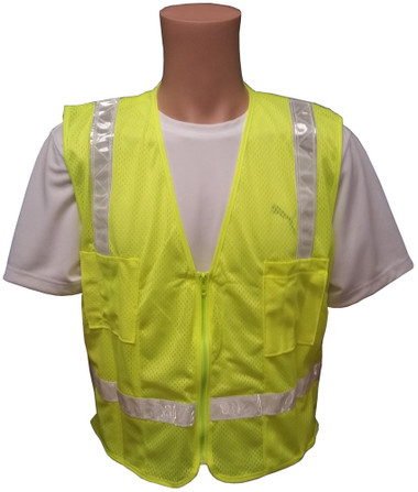 Lime MESH Surveyors Safety Vest with Silver Stripes and Pockets front view