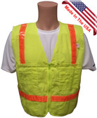 Lime Surveyors Safety Vest with Orange Stripes and Pockets Front