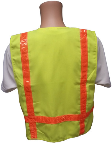 Lime Surveyors Safety Vest with Orange Stripes and Pockets Back