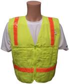 Lime Surveyors Safety Vest with Orange Stripes and Pockets Front