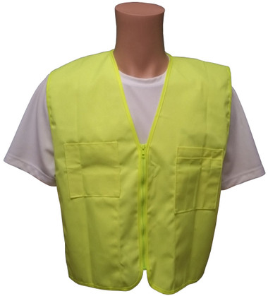 Lime Plain Solid Material Safety Vests with Pockets Front View