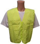 Lime Plain Solid Material Safety Vests with Pockets Front
