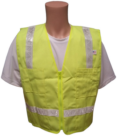 Lime Surveyors Safety Vest with Silver Stripes and Pockets Front