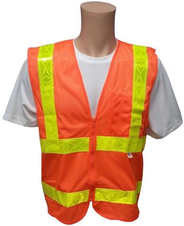 ANSI 2004 Sleeveless Class 2 Double Stripe Orange Mesh Safety Vests -Lime Stripes Front